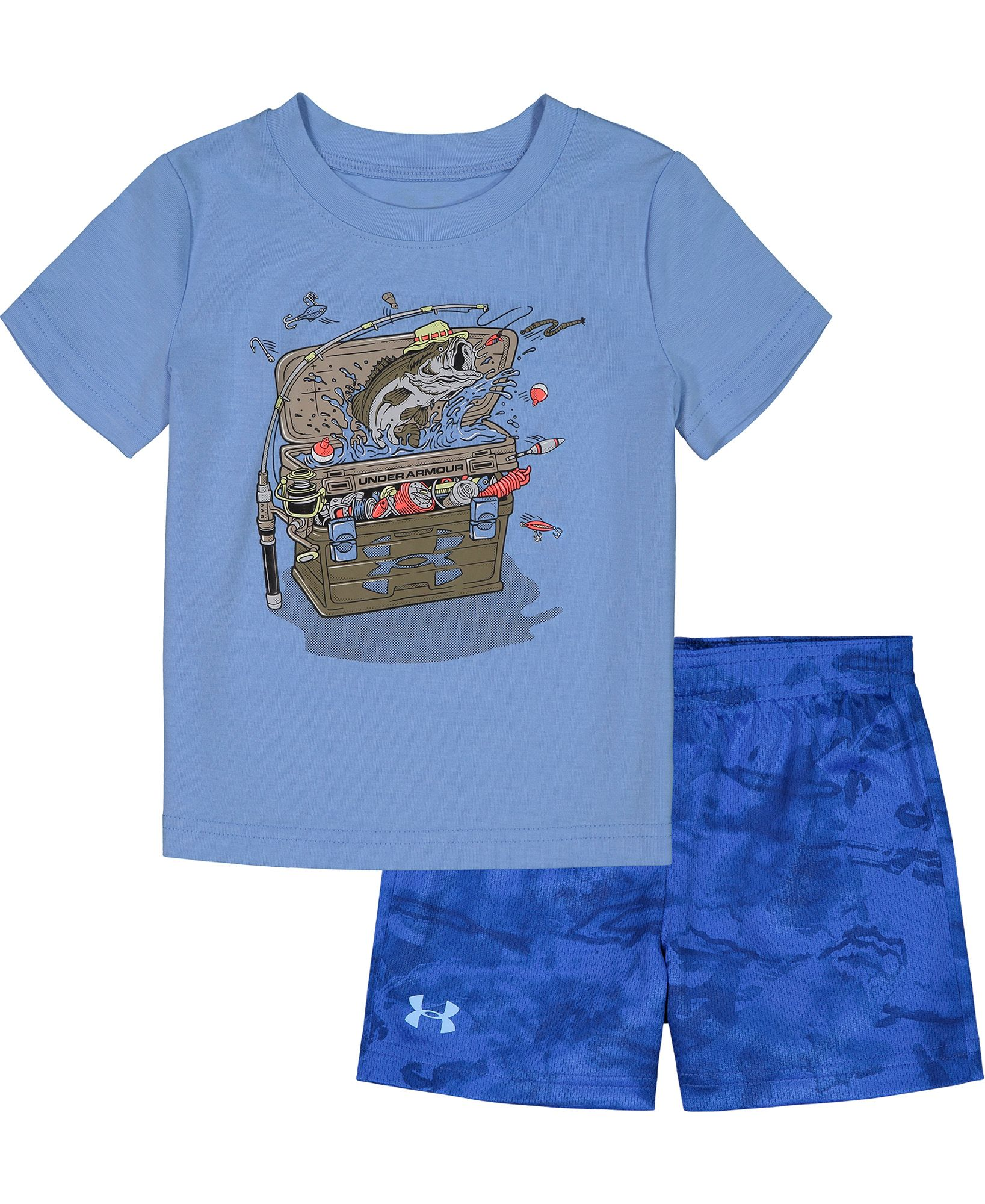 Under Armour Infant Boys' Tackle Box T-Shirt and Shorts 2-Piece Set, Boy's, Size: 12M, Blue