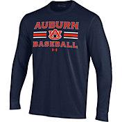 Under Armour Men's Auburn Tigers Blue Performance Cotton Long Sleeve Baseball T-Shirt