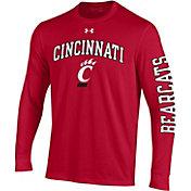 Under Armour Men's Cincinnati Bearcats Red Performance Cotton Long Sleeve T-Shirt