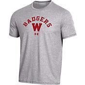 Under Armour Men's Wisconsin Badgers Grey Bi-Blend Performance T-Shirt