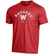 Under Armour Men's Wisconsin Badgers Red Bi-Blend Performance T-Shirt