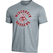 Under Armour Men's Wisconsin Badgers Grey Bi-Blend Performance T-Shirt
