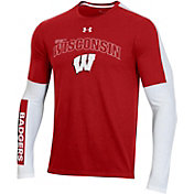 Under Armour Men's Wisconsin Badgers Red Bench Long Sleeve T-Shirt