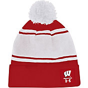 Under Armour Men's Wisconsin Badgers Red Pom Knit Beanie