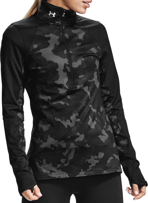 Under Armour Women's ColdGear Camo 1/2-Zip Long Sleeve Shirt, Large, Black