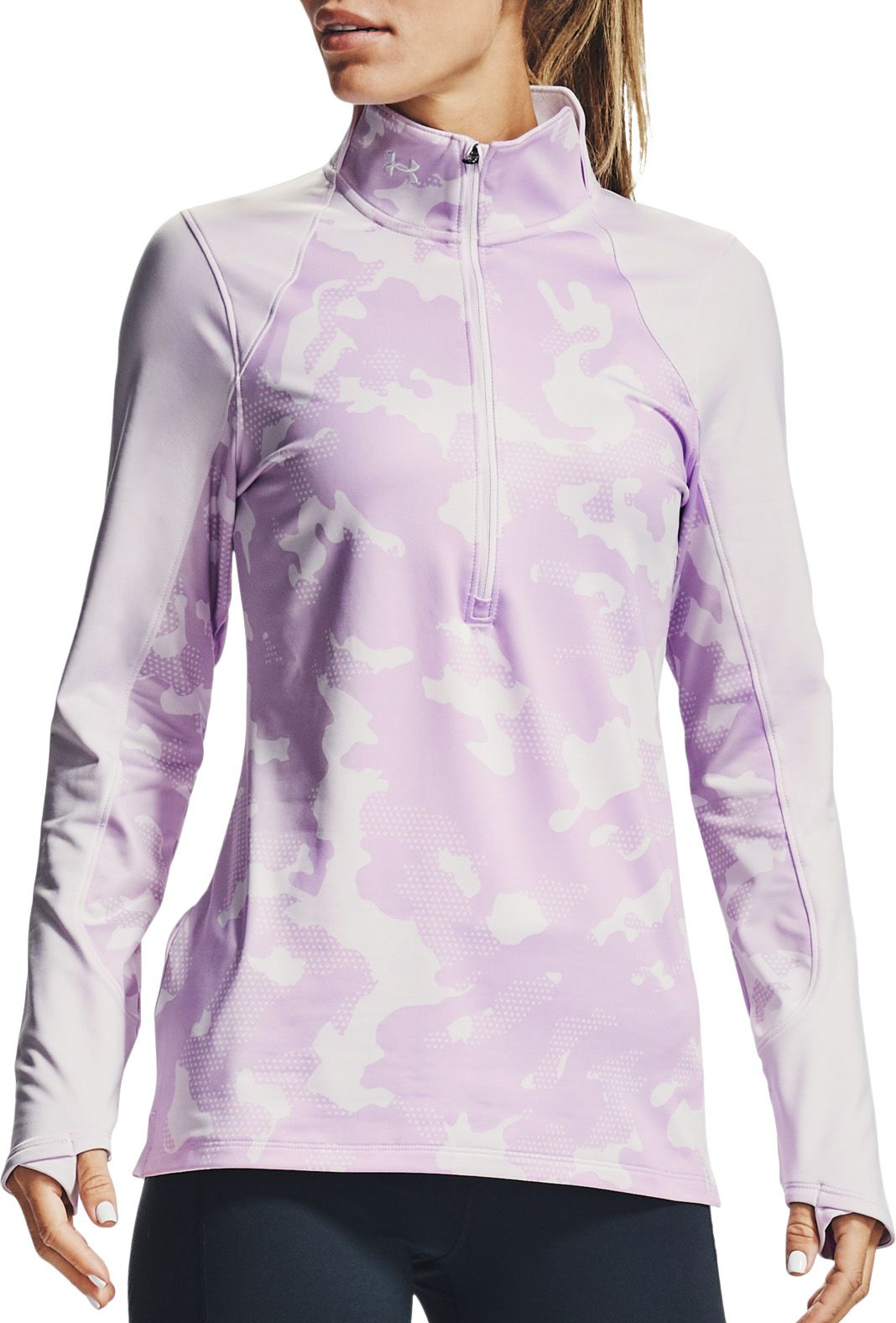 Under Armour Women's ColdGear Camo 1/2-Zip Long Sleeve Shirt, Large, Crystal Lilac/White