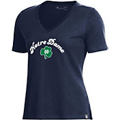 Under Armour Women's Notre Dame Fighting Irish Navy Performance Cotton V-Neck T-Shirt