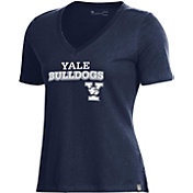Under Armour Women's Yale Bulldogs Yale Blue Performance Cotton V-Neck T-Shirt