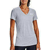 Under Armour Women's Tech Twist Graphic Back Wordmark Short Sleeve V-Neck T-Shirt