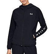 Under Armour Women's Woven Branded Full-Zip Hooded Jacket