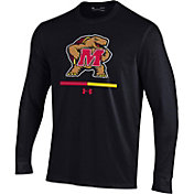 Under Armour Youth Maryland Terrapins Charged Cotton Long Sleeve Performance Black T-Shirt