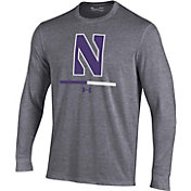 Under Armour Youth Northwestern Wildcats Grey Charged Cotton Long Sleeve Performance T-Shirt