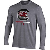 Under Armour Youth South Carolina Gamecocks Grey Charged Cotton Long Sleeve Performance T-Shirt