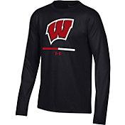 Under Armour Youth Wisconsin Badgers Twist Quarter-Zip Performance Black Shirt