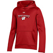 Under Armour Youth Wisconsin Badgers Red Armour Fleece Pullover Performance Hoodie