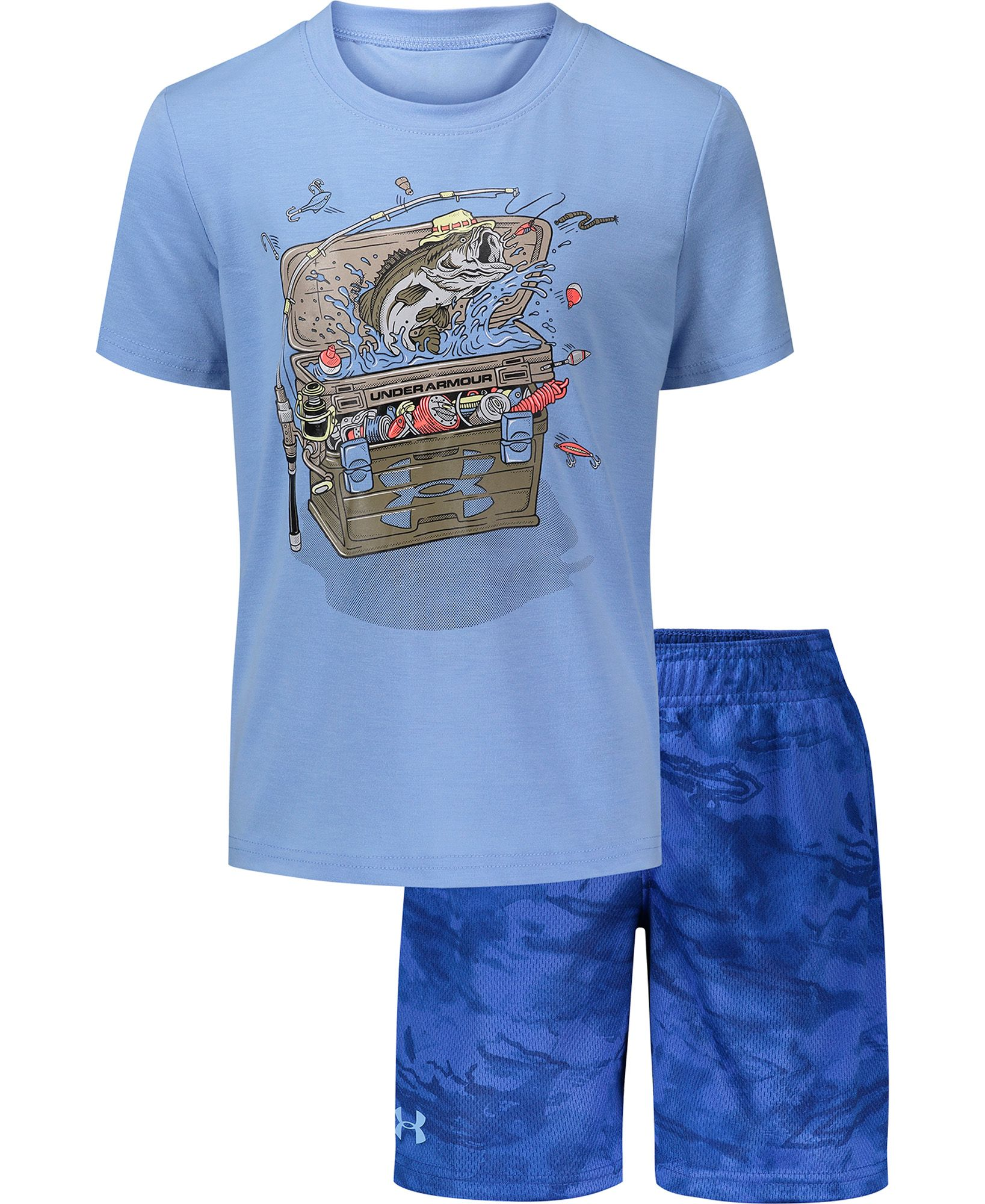 Under Armour Boys' Tackle Box T-Shirt and Shorts 2-Piece Set, Boy's, Size: 5, Blue