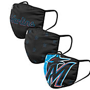 FOCO Adult Miami Marlins 3-Pack Face Coverings