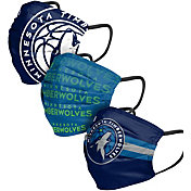 FOCO Adult Minnesota Timberwolves 3-Pack Matchday Face Coverings