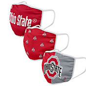 FOCO Adult Ohio State Buckeyes 3-Pack Face Coverings