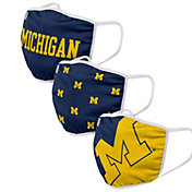 FOCO Adult Michigan Wolverines 3-Pack Face Coverings