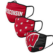 FOCO Adult Wisconsin Badgers 3-Pack Face Coverings