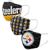 FOCO Adult Pittsburgh Steelers 3-Pack Face Coverings