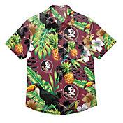FOCO Men's Florida State Seminoles Floral Short Sleeve Button Down Shirt