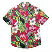 FOCO Men's Ohio State Buckeyes Floral Short Sleeve Button Down Shirt