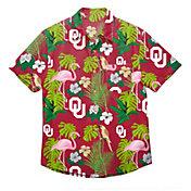 FOCO Men's Oklahoma Sooners Floral Short Sleeve Button Down Shirt