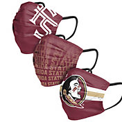 FOCO Adult Florida State Seminoles 3-Pack Matchday Face Coverings