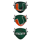 FOCO Youth Miami Hurricanes Adjustable 3-Pack Face Coverings