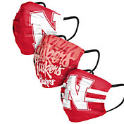 FOCO Adult Nebraska Cornhuskers 3-Pack Matchday Face Coverings