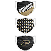 FOCO Youth Purdue Boilermakers 3-Pack Face Coverings