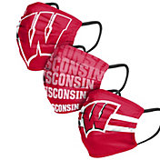 FOCO Adult Wisconsin Badgers 3-Pack Matchday Face Coverings