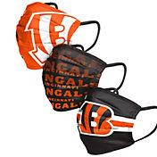 FOCO Adult Cincinnati Bengals Adjustable 3-Pack Face Coverings