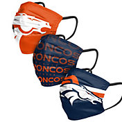 FOCO Adult Denver Broncos 3-Pack Matchday Face Coverings