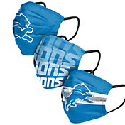 FOCO Adult Detroit Lions 3-Pack Matchday Face Coverings