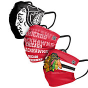 FOCO Adult Chicago Blackhawks 3-Pack Matchday Face Coverings