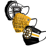 FOCO Adult Boston Bruins 3-Pack Matchday Face Coverings
