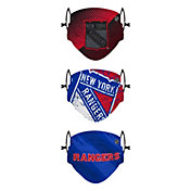 FOCO Youth New York Rangers Adjustable 3-Pack Face Coverings