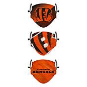 FOCO Youth Cincinnati Bengals Adjustable 3-Pack Face Coverings