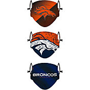 FOCO Youth Denver Broncos Adjustable 3-Pack Face Coverings