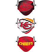 FOCO Youth Kansas City Chiefs Adjustable 3-Pack Face Coverings