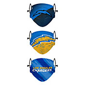 FOCO Youth Los Angeles Chargers Adjustable 3-Pack Face Coverings