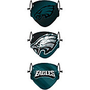 FOCO Youth Philadelphia Eagles Adjustable 3-Pack Face Coverings