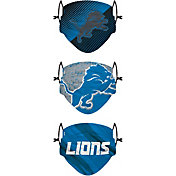 FOCO Youth Detroit Lions Adjustable 3-Pack Face Coverings