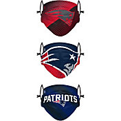 FOCO Youth New England Patriots Adjustable 3-Pack Face Coverings