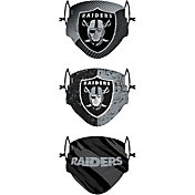 FOCO Youth Las Vegas Raiders Adjustable 3-Pack Face Coverings
