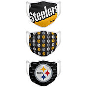 FOCO Youth Pittsburgh Steelers Adjustable 3-Pack Face Coverings
