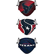 FOCO Youth Houston Texans Adjustable 3-Pack Face Coverings